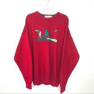 John Ashford Gold embroidered knit sweater size XL